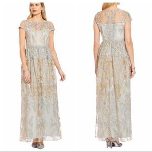 Adrianna Papell Embroidered Formal Gown NWOT